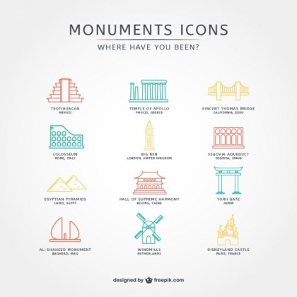 Touristic Icons Collection Free Vector