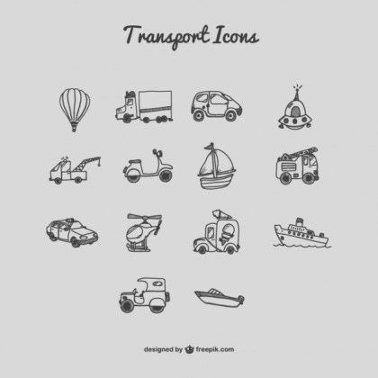 Transport Icons Cartoon Free Vector