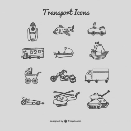 Transport Icons Drawing Free Vector