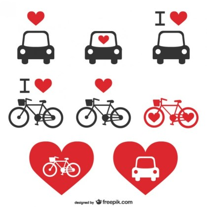 Transportation Heart Icons Free Vector