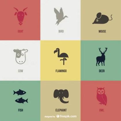 Vector Animal Pictograms Free Vector