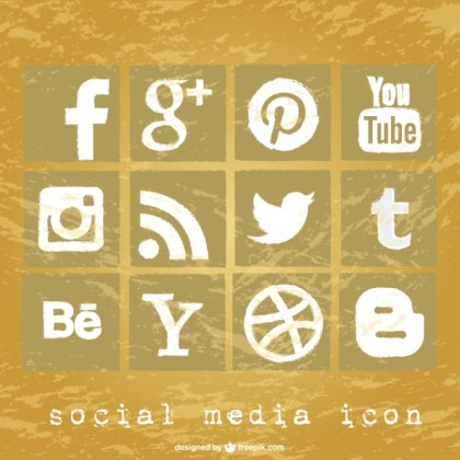 Vector of Social Media Grunge Icons Free Vector