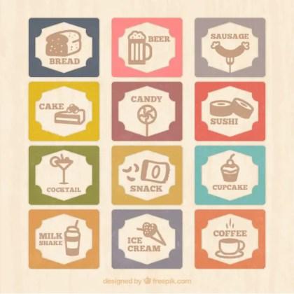 Vintage Menu Card with Food Icons Free Vector