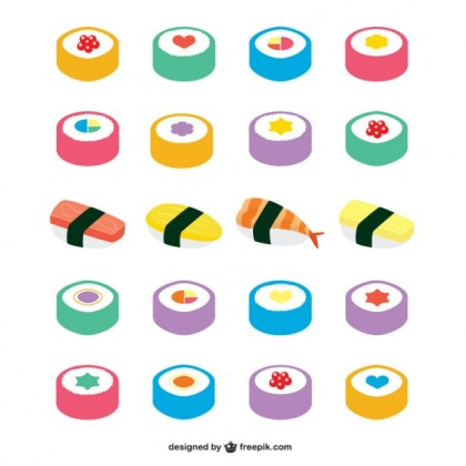 Asian Food Icons Free Vector