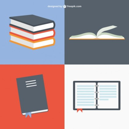 Books in Different Positions Free Vector