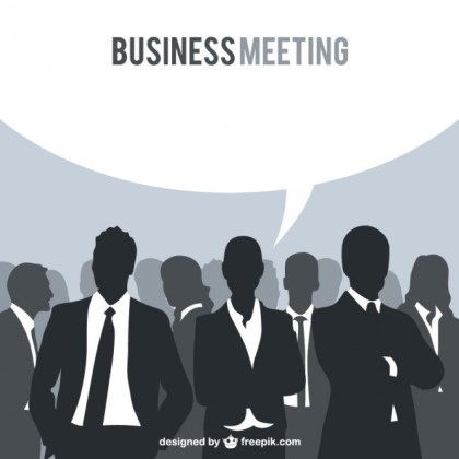Business People Silhouettes Speech Bubble Free Vector
