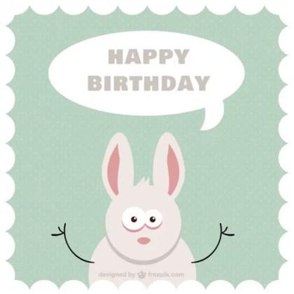 Cartoon Bunny B-Day Card Free Vector