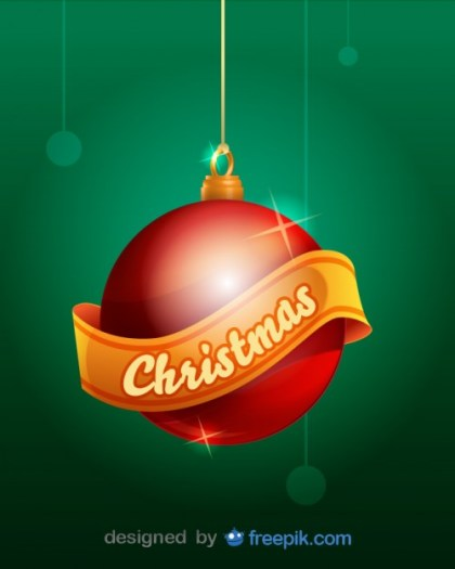 Christmas Ball with a Christmas Ribbon Hanging From a Rope Free Vector