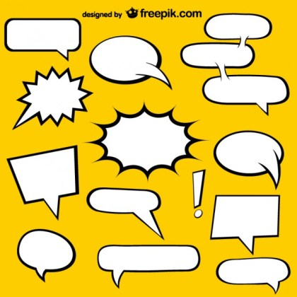 Comic Book Speech Bubbles Elements Free Vector