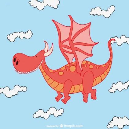 Cute Dragon Cartoon Free Vector