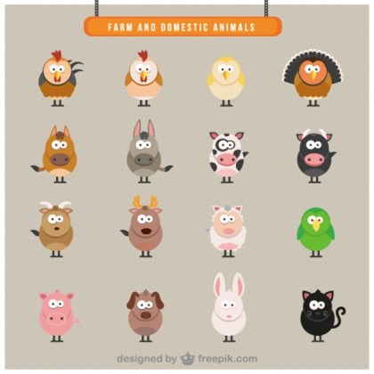 Farm Domestic Animals Icons Free Vector