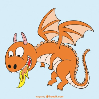 Fire Dragon Cartoon Free Vector