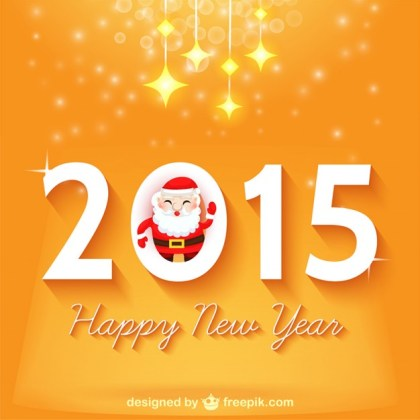 Happy New Year Design with Santa Claus Free Vector