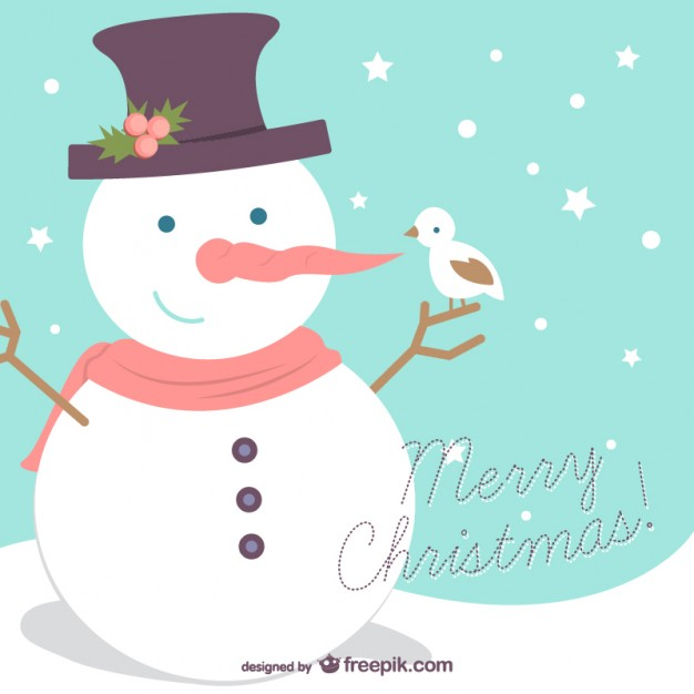 merry christmas background with snowman free vector 3377