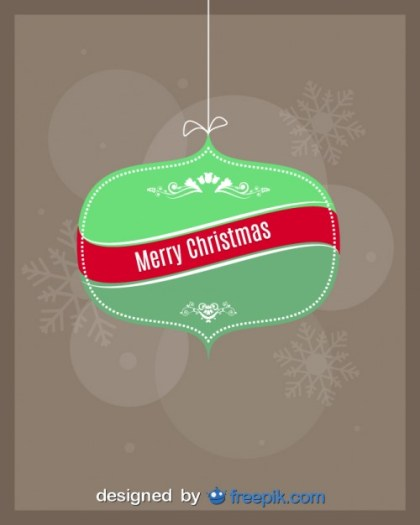 Merry Christmas on a Christmas Ball Free Vector