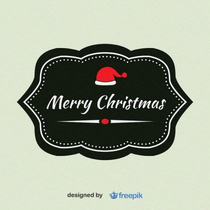 Merry Christmas with Christmas Hat in The Upper Label Free Vector