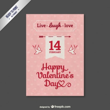 Pink Valentine Card with Swallows Free Vector