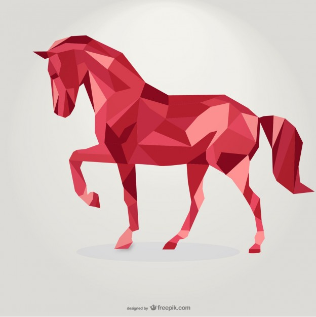 Polygonal Red Horse Geometric Triangle Design Free Vector