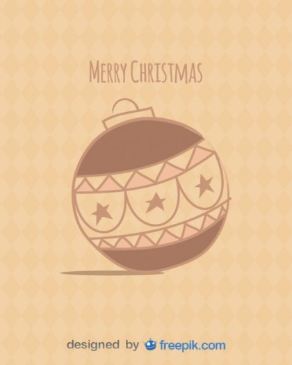 Postcard Merry Christmas with Christmas Ball Free Vector