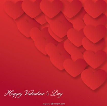 Red Heart Background Valentines Day Card Design Free Vector