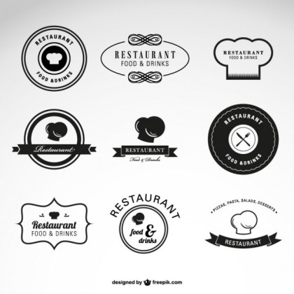 Restaurant Food and Drinks Logos Free Vector