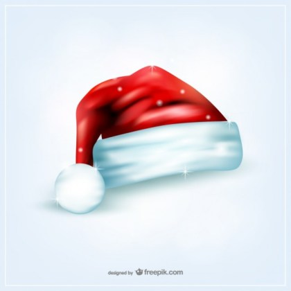 Santa Claus Hat with Sparkles Free Vector