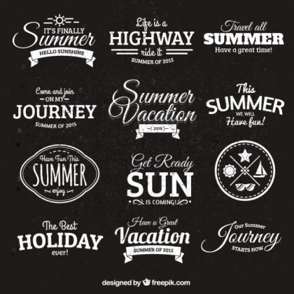 Summer Badges in Retro Style Free Vector