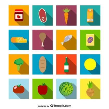 Supermarket Food Icons Set Free Vector