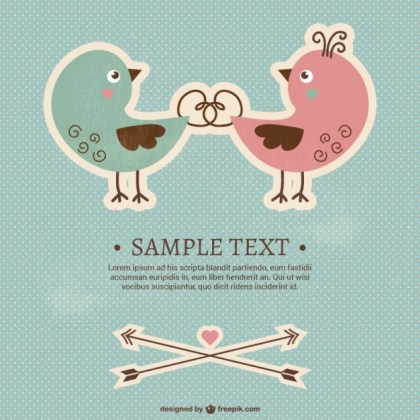 Valentine Birds Card Template Free Vector