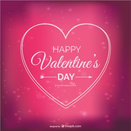 Valentine Card with Sparkles Free Vector