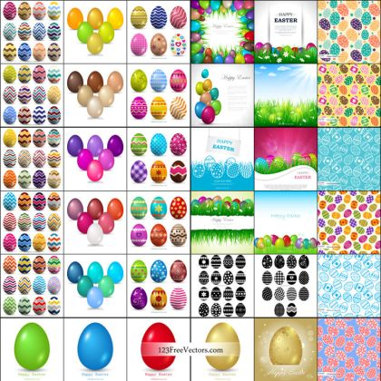 Happy Easter Egg Background Vector Pack