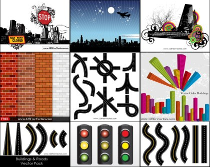City Skylines and Roads Vector Pack