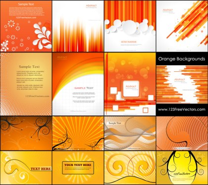 Orange Abstract Background Vector Pack