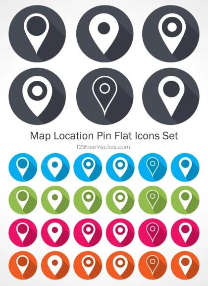 Map Location Pin Flat Icons Set