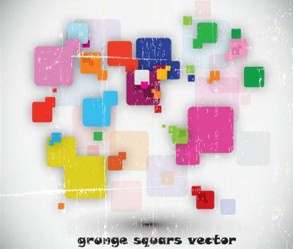 Colorful Grunge Squars Vector Free Background