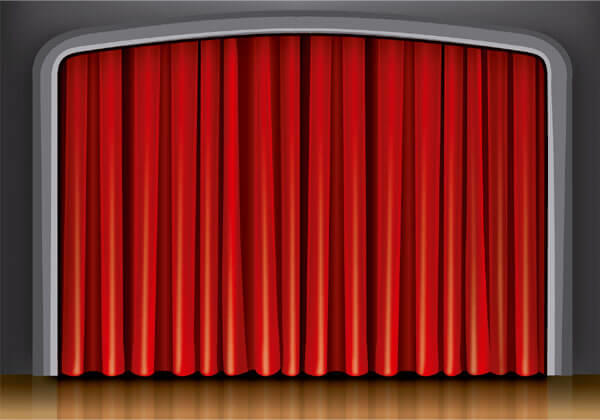 theater stage red curtain background vector