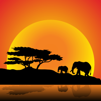 Vector Elephants Family on Nature Walk