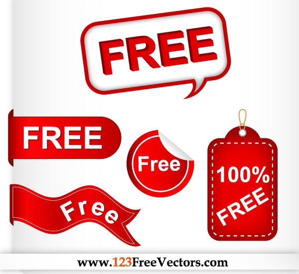 Red Label, Speech Bubble, Sticker, Banner, Tag Free Vector Set
