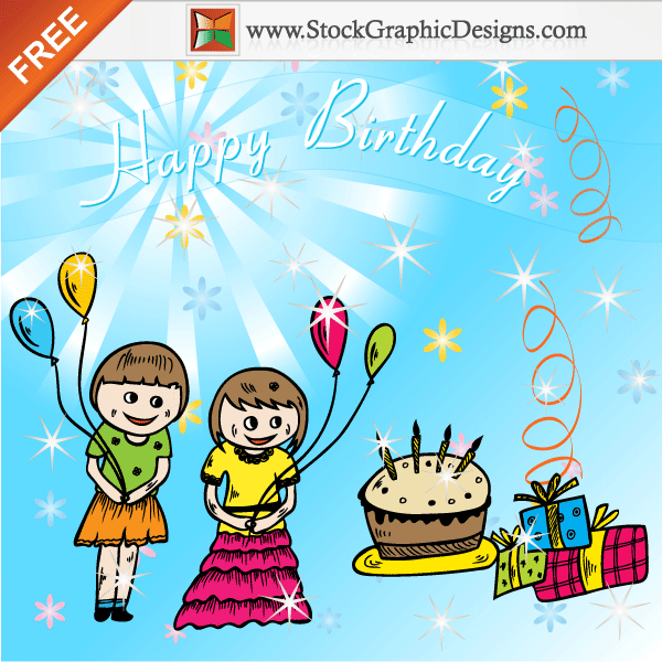 Freebie Cute Cartoon Kids Celebrate A Birthday Party Vector Background