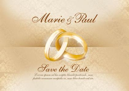 Wedding Invitation Card With Gold Rings Vector Image