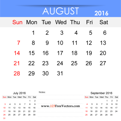 Free Printable Monthly Calendar August 2016