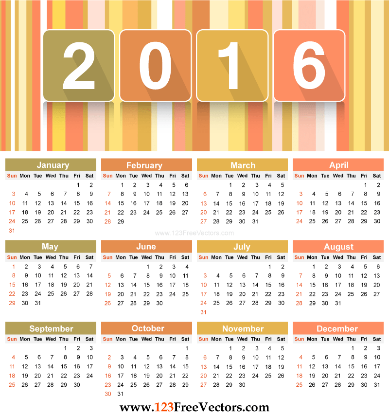 Download 90+ 2016 Calendar Template Vectors | Download Free Vector ...