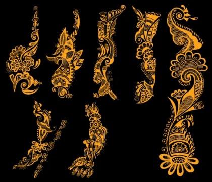 Indian Henna Tattoo Designs Vector Free