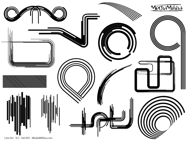 Line Art Vector Design Elements Set 5