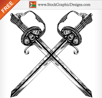 Hand Drawn Heraldic Sword Free Vector Illustration