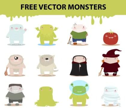Free Cartoon Monster Characters Vector