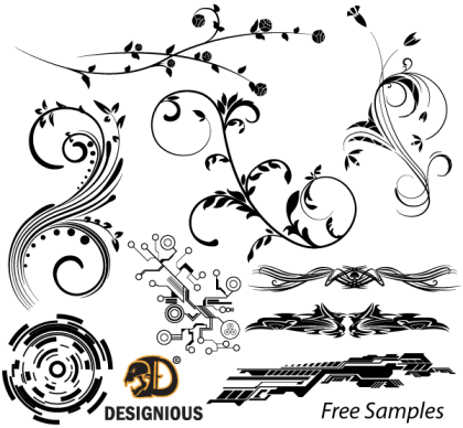 Free Vector Samples: Floral, Tech Shapes and Tribal Designs