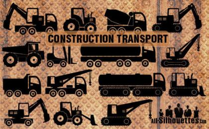 Free Vector Construction Transport Silhouettes