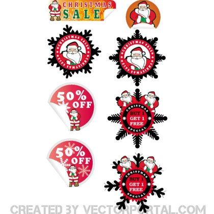 Christmas Sale Stickers Free Vector