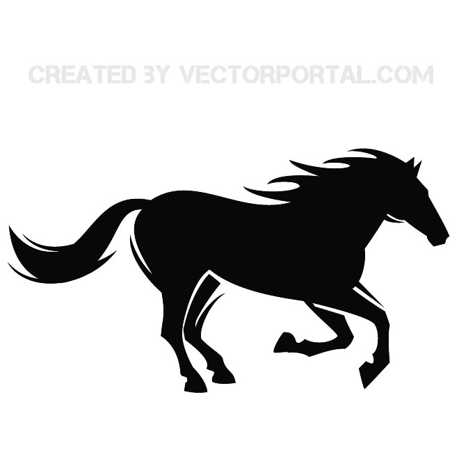 Running Horse Silhouette Vector Image